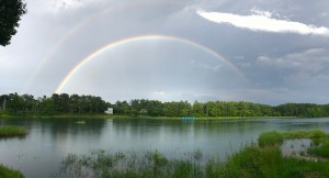 大座法師池にかかる虹