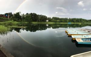 大座法師池に映る虹